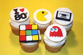 fondant cupcake toppers 80s party pacman rubix cube