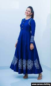 gown designs blue designer taffeta silk embroidery gown