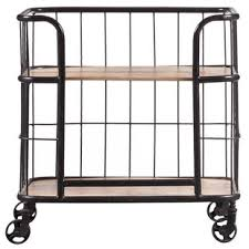 industrial iron wood kitchen trolley natural black buy kitchen bar carts birch lane
