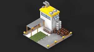 low poly factory and bar kit by aquilesadrianza 3docean