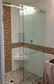 shower glass sliding doors curbless shower with frameless glass sliding door vancouver