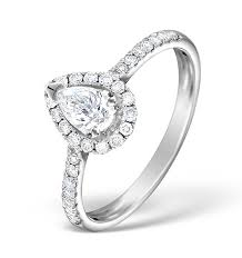 engagement ring uk halo engagement ring ella 0 81ct pear shape diamond 18k white gold
