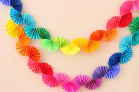 paper fan rainbow fan garland easy diy party decoration