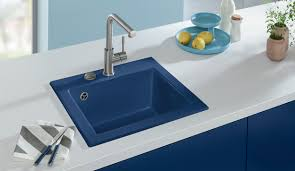 Blue Kitchen Sink Sinks For More Colour Variety In Kitchen Designs