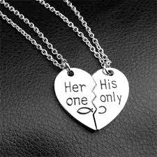 couple necklace images Wholesale broken heart pendant necklace couple necklace hand jpg