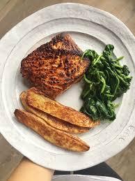 blackened halibut with trader joe u0027s seasoning salt potato wedges