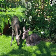 fawn and doe metal garden sculpture uk bronze animals candle and