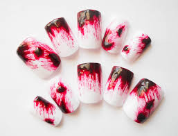 blood clot fake nails blood splatter press on nails