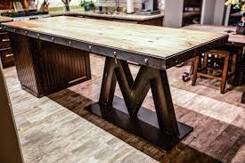 wood kitchen island m base steel reclaimed wood kitchen island porter barn wood