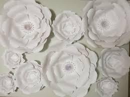 paper flower set of 9 paper flowers 6 16 white wedding flower wall photo