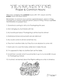 thanksgiving common vs proper nouns worksheet squarehead teachers
