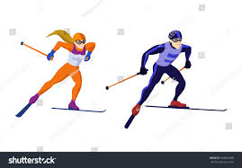 cross country skiing boy isolated stock vector 753893038
