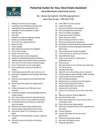 real estate assistant task checklist