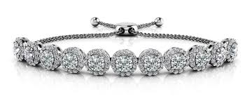 diamond bracelet styles images Trending new round halo adjustable diamond diamond bracelet jpg