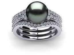 black wedding sets tahitian pearl rings americanpearl