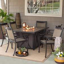 Outdoor Table With Firepit by Belham Living Tulie 7 Piece Aluminum Fire Pit Patio Dining Set
