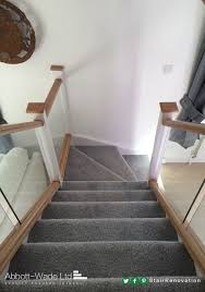 Banister Options Oak Rails With White Newel Posts And Inline Glass Balustrade With