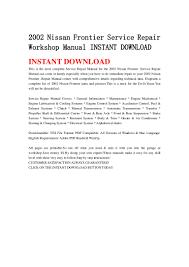 nissan frontier manual transmission 2002 nissan frontier service repair workshop manual instant download