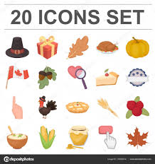 canada thanksgiving day icons in set collection for design