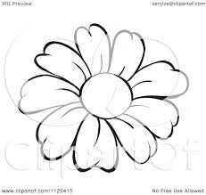 cartoon of an outlined daisy flower royalty free vector clipart