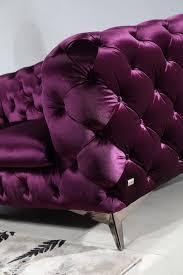 Purple Leather Sofa Sets Divani Casa Delilah Modern Purple Fabric Sofa Set Sofas Living