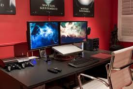 Home Design For Pc by Home Accessories Remarkable Gaming Setup Ideas With Red Paint