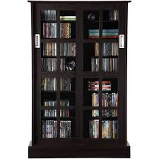 glass door cabinet walmart atlantic windowpane 576 cd or 192 dvd blu ray games cabinet with