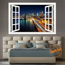 online buy wholesale new york decal from china new york decal new york brooklyn high quality 3d wall sticker removable night landscape window view wall decal home