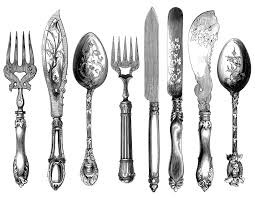 kitchen forks and knives vintage cutlery clipart cutlery engraving fork knife spoon