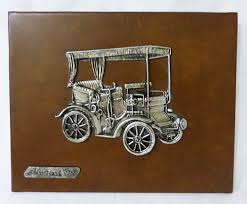 Vintage Peugeot Mod 1895 Mounted Pewter On Leather Wall Decor