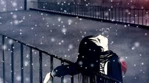 winter anime wallpaper hd girl wearing blue long sleeved school uniform looking at sky during