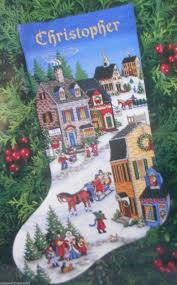 dimensions gold collection village scene stocking cross stitch kit