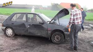 pejo car yvonne destroys a peugeot 205 youtube