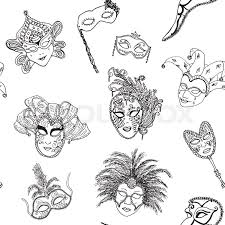 venice italy carnival masks seamless pattern hand drawn sketch