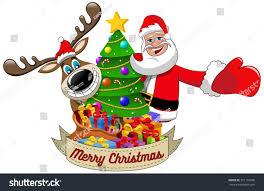 cartoon funny reindeer santa claus wishing stock vector 351197696