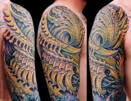 half sleeve biomechanican tattoo by guy aitchison design of