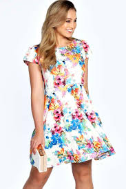 boohoo clothing plus tammy floral printed skater dress boohoo