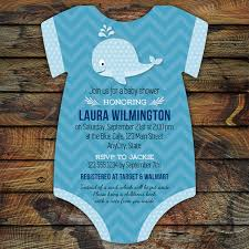 whale baby shower invitations whale baby shower invitations 10 bodysuit die cut printed cards