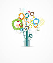 abstract gear tree digital computer technology business backgrou