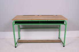 children u0027s vintage belgium green metal legged desk blue ticking