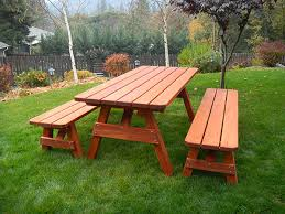 Redwood Picnic Tables And Benches Redwood Furniture Assembly U0026 Care Gold Hill Redwood