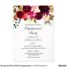 Engagement Card Invitations Burgundy Floral Boho Engagement Party Invitation Engagement