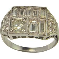 platinum diamond engagement ring art deco engagement band wedding