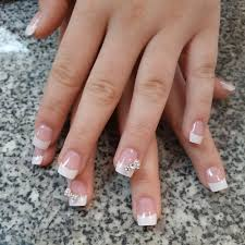 white nails with diamonds beautify themselves with sweet nails