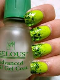 lime green and yellow nails nail art glitter bling tip tips i