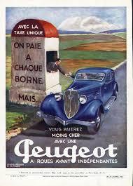 1934 peugeot 601 sedan ad color toll booth radiator