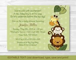 Editable Invitation Cards Free Download Jungle Animal Baby Shower Invitation Jungle Animal Baby