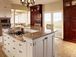 Two Toned Kitchen Cabinets by Two Tone Kitchen Cabinet And Induction Cooktop With Msi Stone Countertops Also Chandelier And Barstools With French Door Plus Msi Flooring And Msi Stone