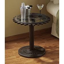 steampunk furniture creative idea round black gear steampunk side table on brown