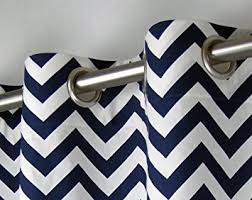 Navy Chevron Curtains Navy Blue And White Chevron Zig Zag Drape One Grommet